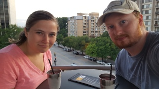 Drinks at the rooftop bar